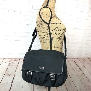 Coach Black Crossbody Messenger Bag Signature